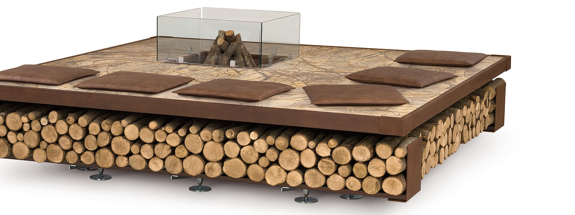 AK47 Opera fire pit – square modern architectural fire pit in Rain Forest brown marble and oxidised steel