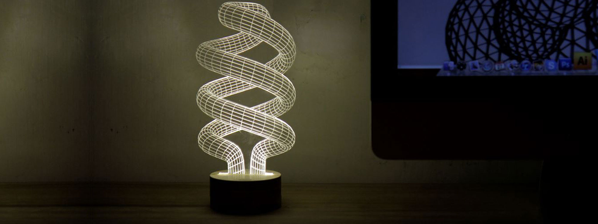 Spiral LED Desk Lamp From Bulbing Designer LED Lamp Collection By Studio Cheha. Modern Design Table Lamp, Contemporary Floor Lamp, Designer Pendant Light Collection - Unique Designer Gift