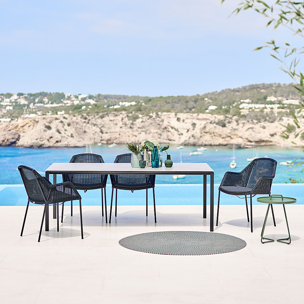 Black Breeze MODERN Outdoor Dining CHAIR & Drop Bistro Table. DESIGNER Garden Chair By Strand+Hvass. Breeze WOVEN Garden Chair Is Made In HIGH QUALITY Garden FURNITURE Materials By CANE-LINE Luxury Garden Furniture.
