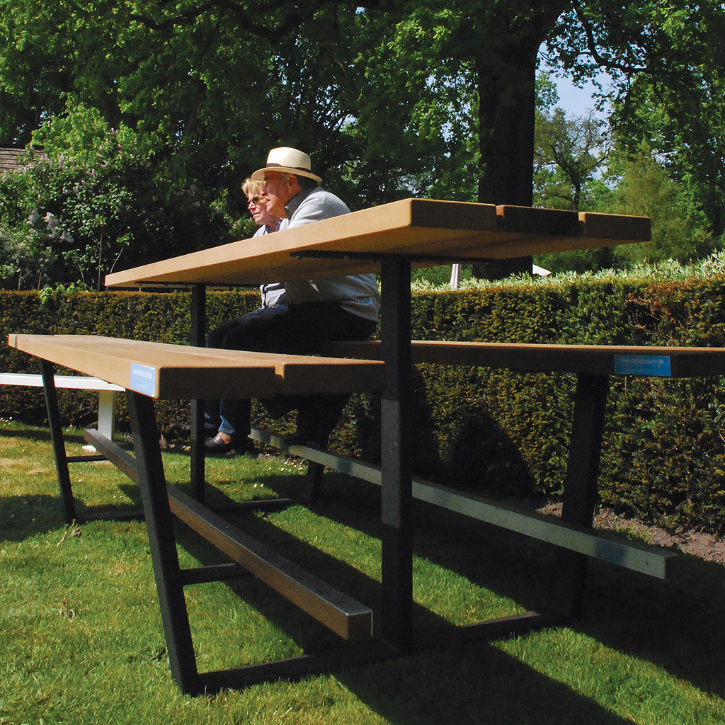 Anthracite & Iroko Cassecroute BEER TABLE Is A HIGH Bar TABLE And BENCHES In ALL WEATHER Picnic FURNITURE Materials. Residential & Hospitality MODERN Picnic Tables.