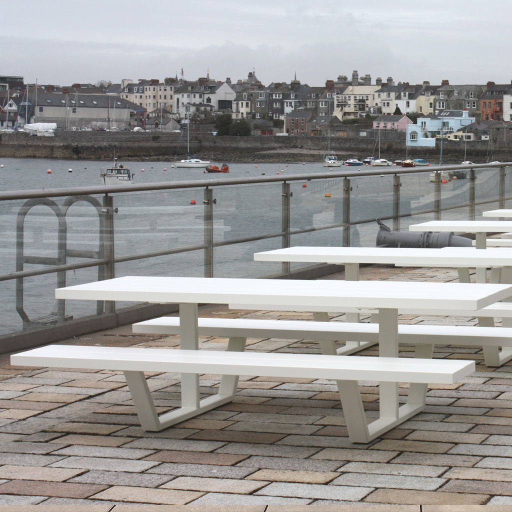 White Cassecroute MODERN Picnic Table & LUXURY PICNIC FURNITURE Outside Wagamama At Plymouth Historic Dockyard. SHORT Or LONG Picnic Table Sizes Up To 14m Made In High QUALITY Picnic Furniture Materials. Cassecroute DESIGNER Picnic FURNITURE Designed By Ronald Mattelé.