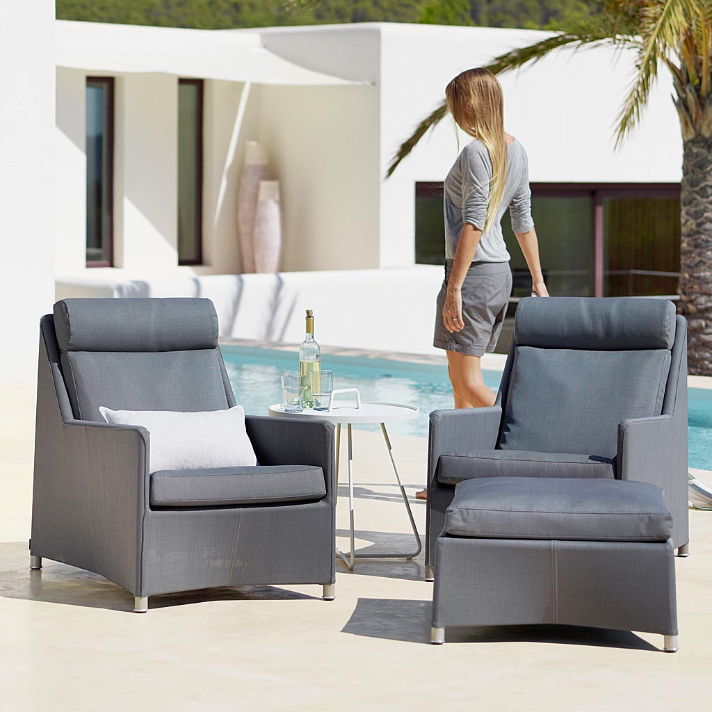 High Backed Lounge Chair & Diamond ALL-WEATHER Rattan Sofa. CLASSIC Rattan Garden SOFAS and LOUNGE CHAIR In HIGH QUALITY Garden Sofa MATERIALS By CANE-LINE Outdoor Cane FURNITURE.