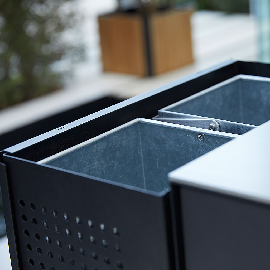 Detail Of Rubbish Bins On DROP Outdoor KITCHEN. MODERN Garden Kitchen CABINET, OUTDOOR Kitchen ISLAND, HIGH QUALITY Garden Furniture MATERIALS. CANE-LINE Luxury Garden Furniture.