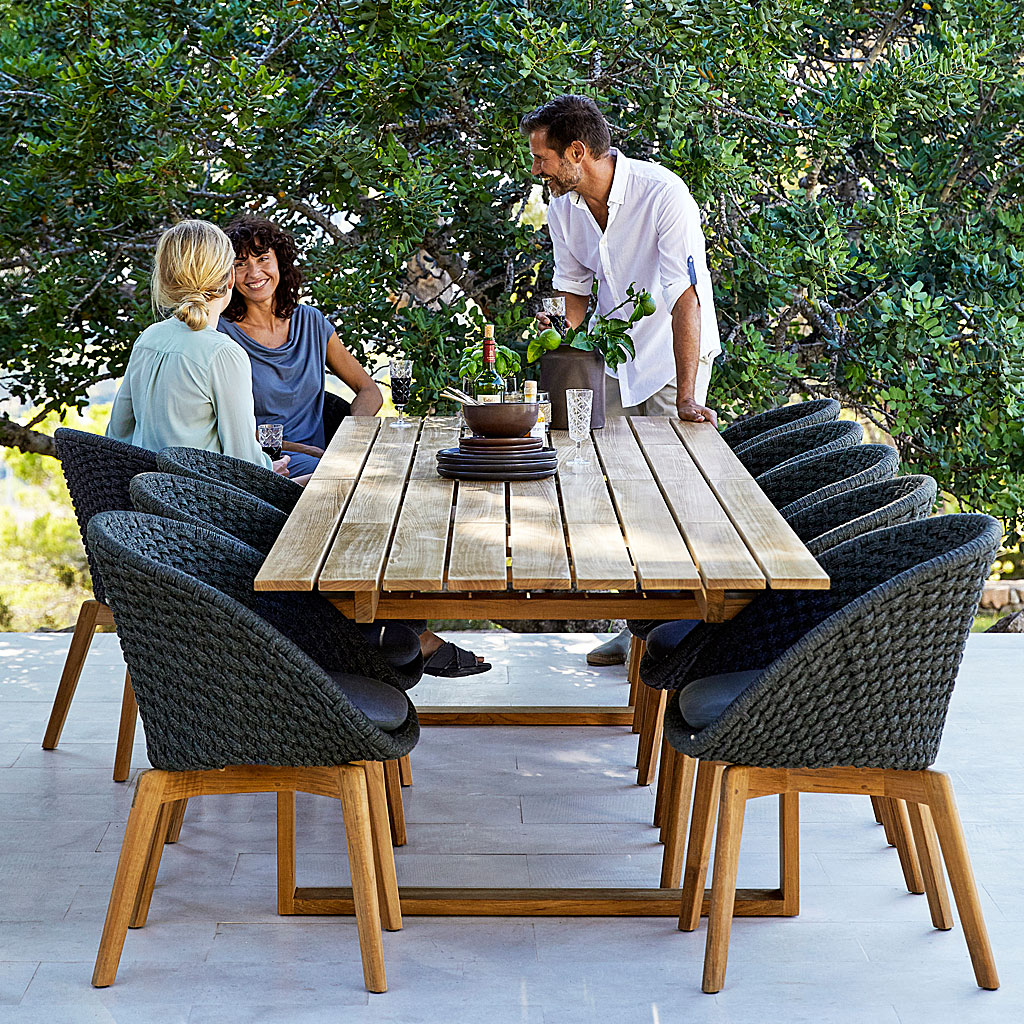 PEACOCK Woven Garden DINING CHAIR. MODERN Garden Furniture Chair In ALL-WEATHER Furniture MATERIALS By CANE-LINE LUXURY Outdoor FURNITURE. PEACOCK & ENDLESS Modern Garden DINING Set. COMFY Modern Garden CHAIR, TEAK Garden Dining TABLE By CANE-LINE Modern Garden FURNITURE Company.