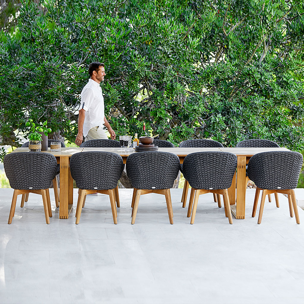 PEACOCK Woven Garden DINING CHAIR. MODERN Garden Furniture Chair In ALL-WEATHER Furniture MATERIALS By CANE-LINE LUXURY Outdoor FURNITURE.
