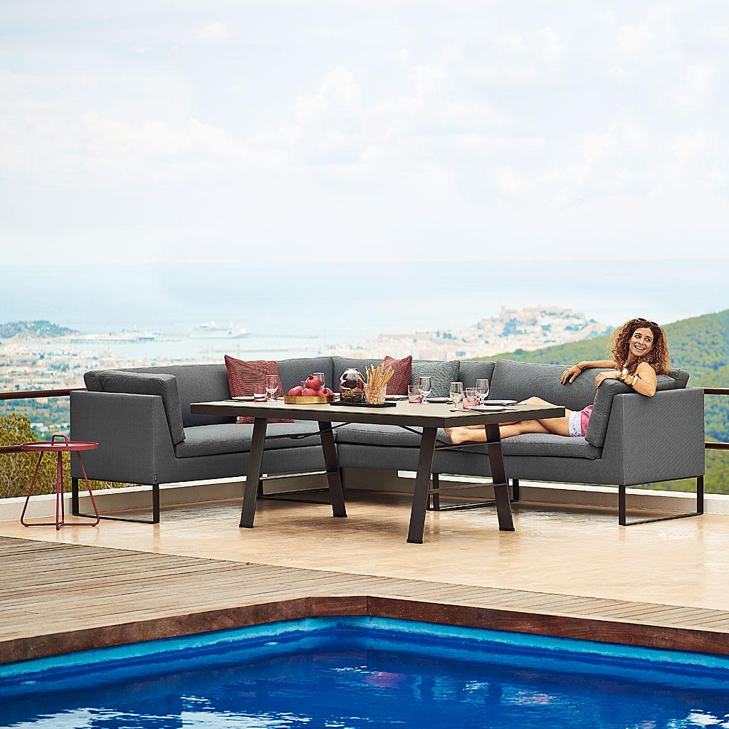 FLEX Outdoor DINING LOUNGE Furniture. MODULAR MODERN Garden SOFA In ALL-WEATHER Garden Furniture MATERIALS By CANE-LINE Luxury Exterior FURNITURE.