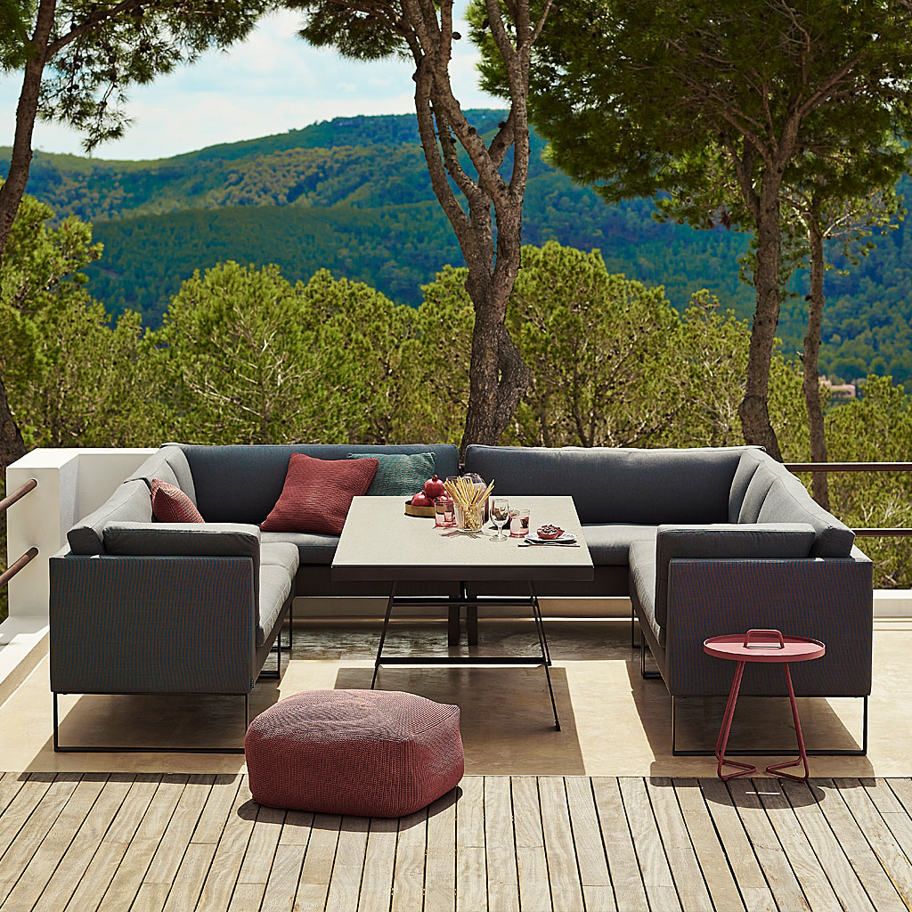 Ready For Lunch Around FLEX Outdoor DINING LOUNGE Furniture. MODULAR MODERN Garden SOFA In ALL-WEATHER Garden Furniture MATERIALS By CANE-LINE Luxury Exterior FURNITURE.
