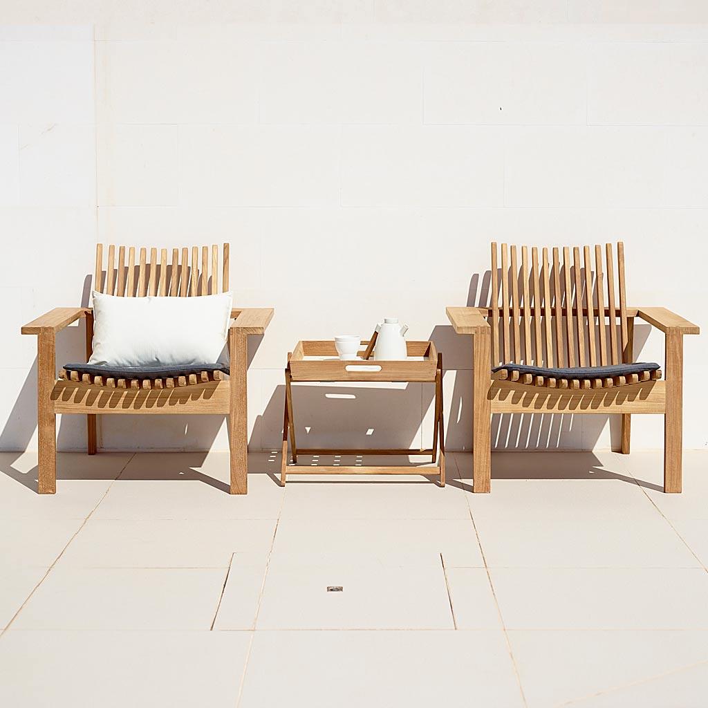 Amaze TEAK Garden LOUNGE Furniture. MODERN Outdoor LOW CHAIR & Garden SOFA In LUXURY Teak Furniture MATERIALS By CANE-LINE Garden FURNITURE.
