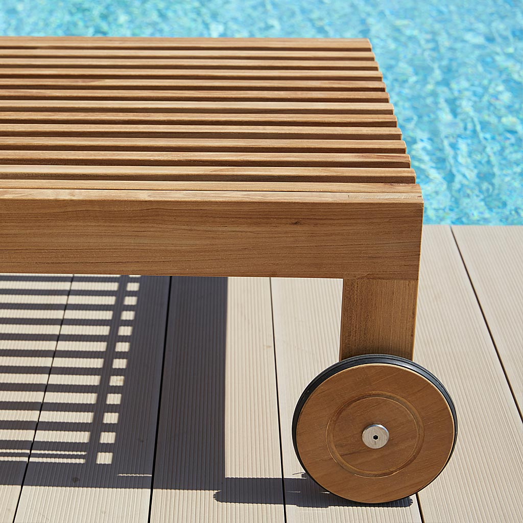 Detail Of Wheel Of Amaze MODERN TEAK Teak Sunbed. Luxury Adjustable Sun Lounger In High Quality Garden Furniture Materials By Cane-line Garden Furniture Company.