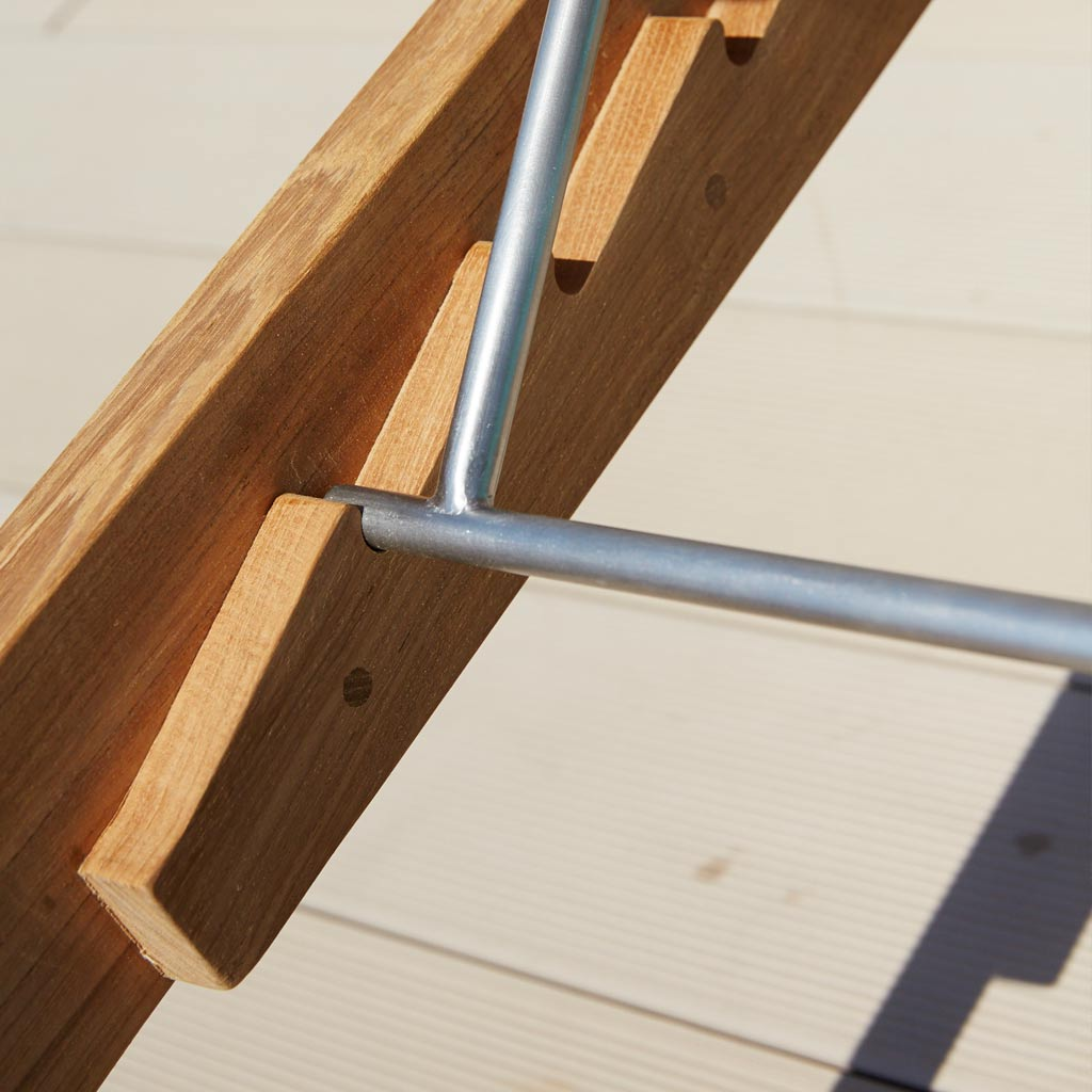 Detail Of Adjustment Ratchet For Amaze MODERN TEAK Teak Sunbed. Luxury Adjustable Sun Lounger In High Quality Garden Furniture Materials By Cane-line Garden Furniture Company.