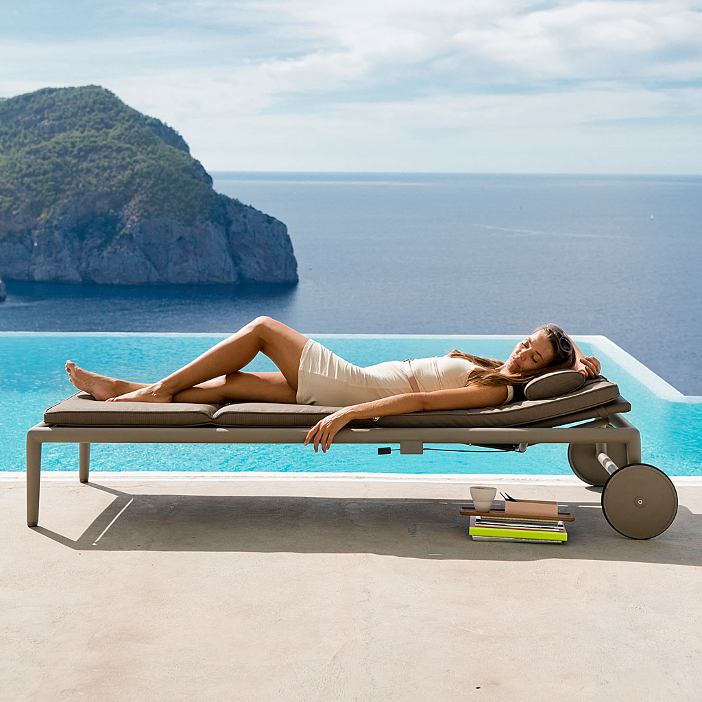 Conic MODERN SUNBED Is An ADJUSTABLE SUN LOUNGER In HIGH QUALITY Garden Furniture MATERIALS By Cane-line LUXURY GARDEN FURNITURE
