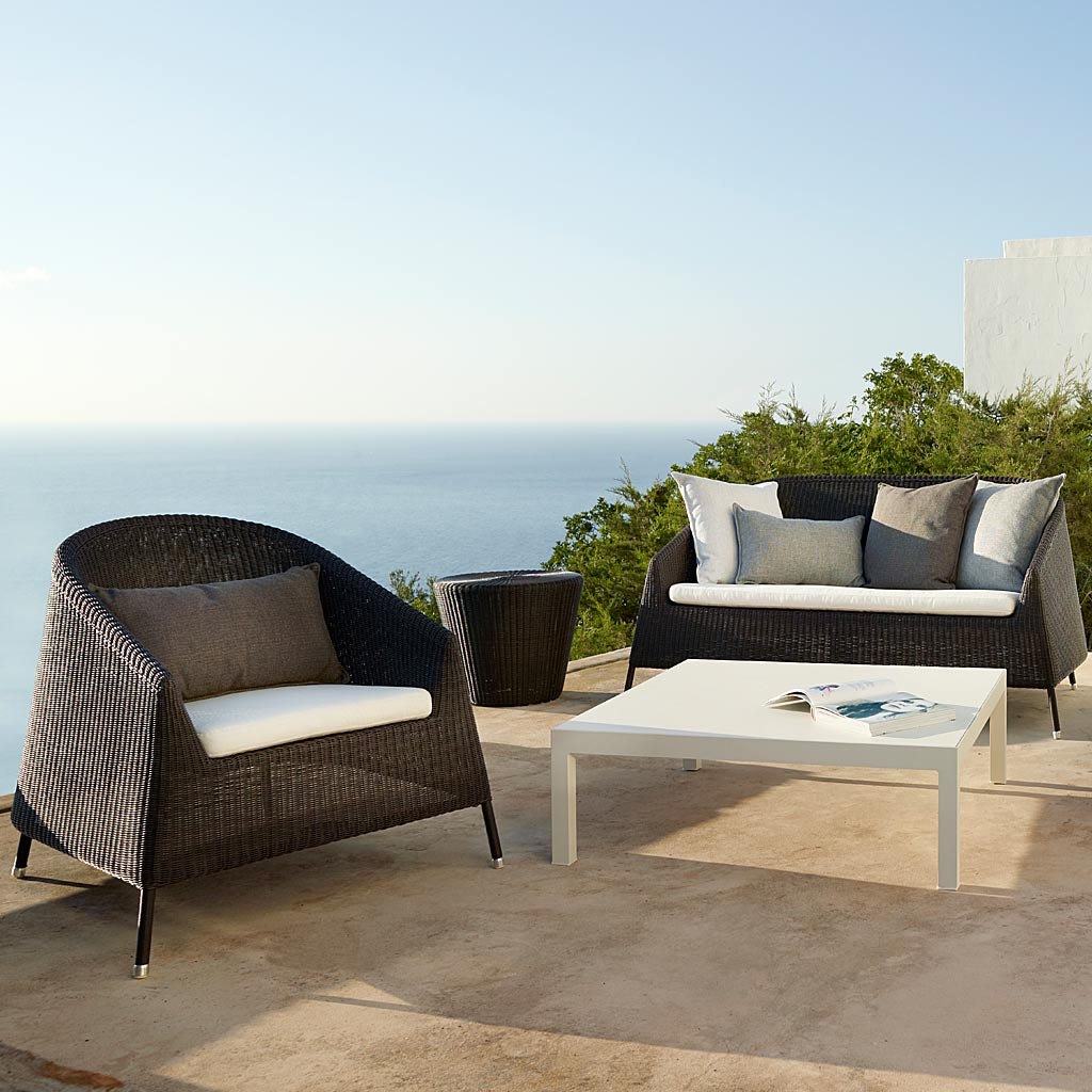 Stacking Kingston ALL-WEATHER Wicker Lounge Furniture. MODERN Outdoor RATTAN SOFA And LOUNGE CHAIRS & Footstool By Cane-line Luxury Garden Furniture.