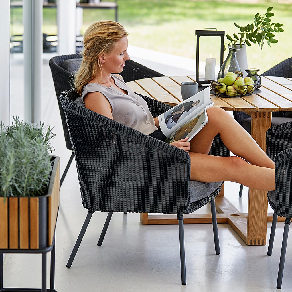 ENDLESS Table & Mega MODERN Rattan Garden CHAIR. Woven OUTDOOR DINING Chair In PREMIUM Rattan GARDEN Furniture MATERIALS By CANE-LINE Garden FURNITURE.