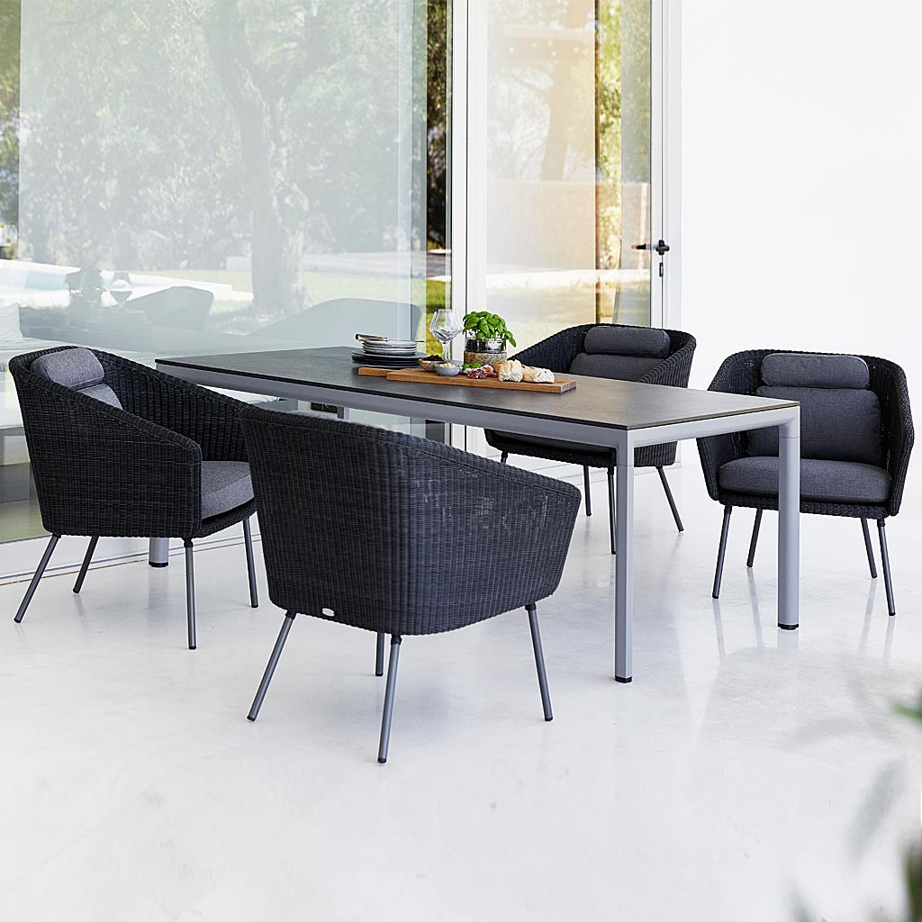 DROP Table & Mega MODERN Rattan Garden CHAIR. Woven OUTDOOR DINING Chair In PREMIUM Rattan GARDEN Furniture MATERIALS By CANE-LINE Garden FURNITURE.