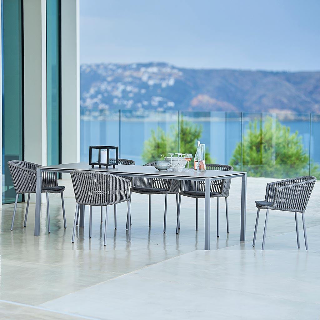 Stacking Version Of MOMENTS Modern GARDEN Dining CHAIR. Designer OUTDOOR Carver CHAIR & Modern Garden DINING BENCH, LUXURY Garden Furniture MATERIALS. CANE-LINE Luxury Exterior Furniture.