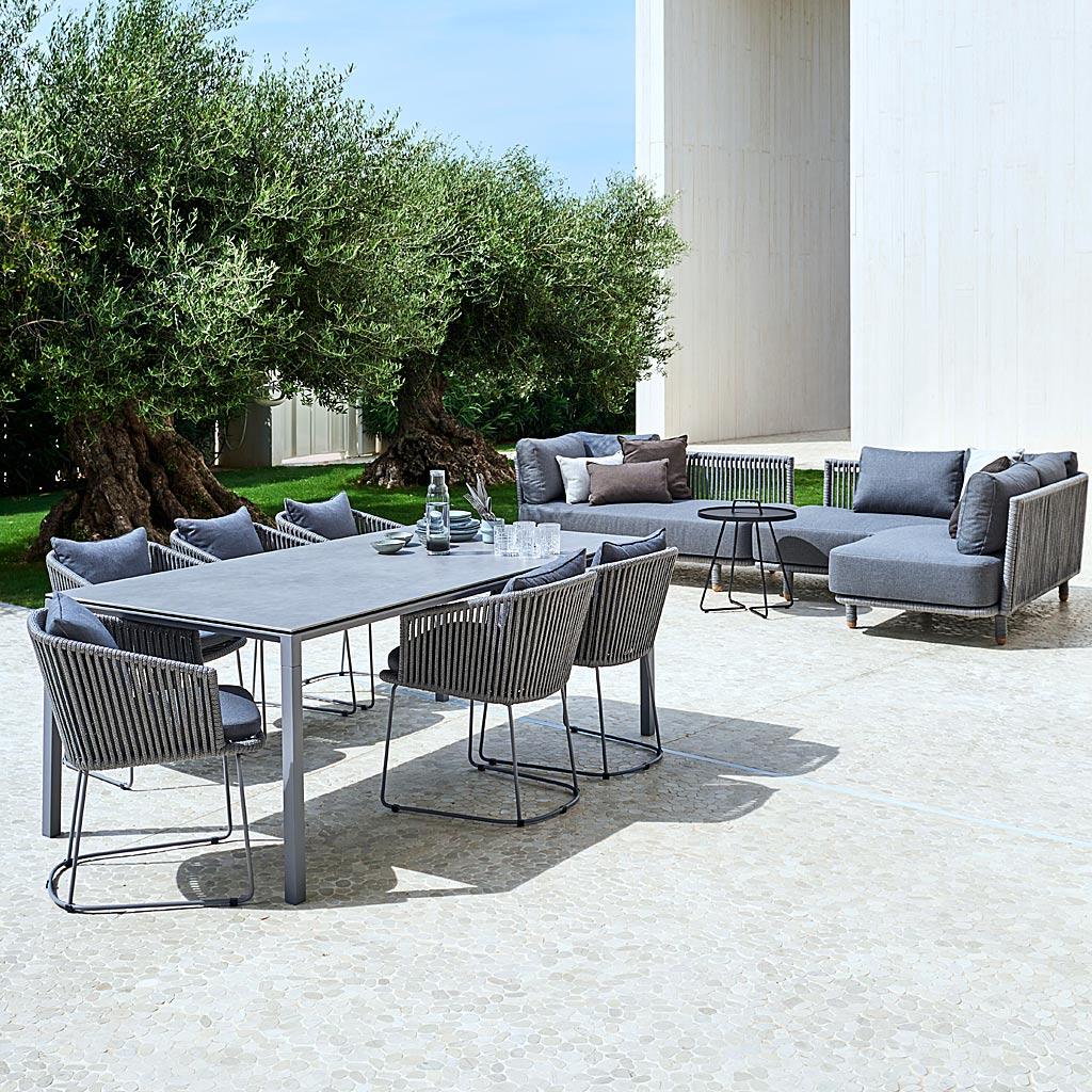 Grey MOMENTS Modern GARDEN Dining CHAIR. Designer OUTDOOR Carver CHAIR & Modern Garden DINING BENCH, LUXURY Garden Furniture MATERIALS. CANE-LINE Luxury Exterior Furniture.