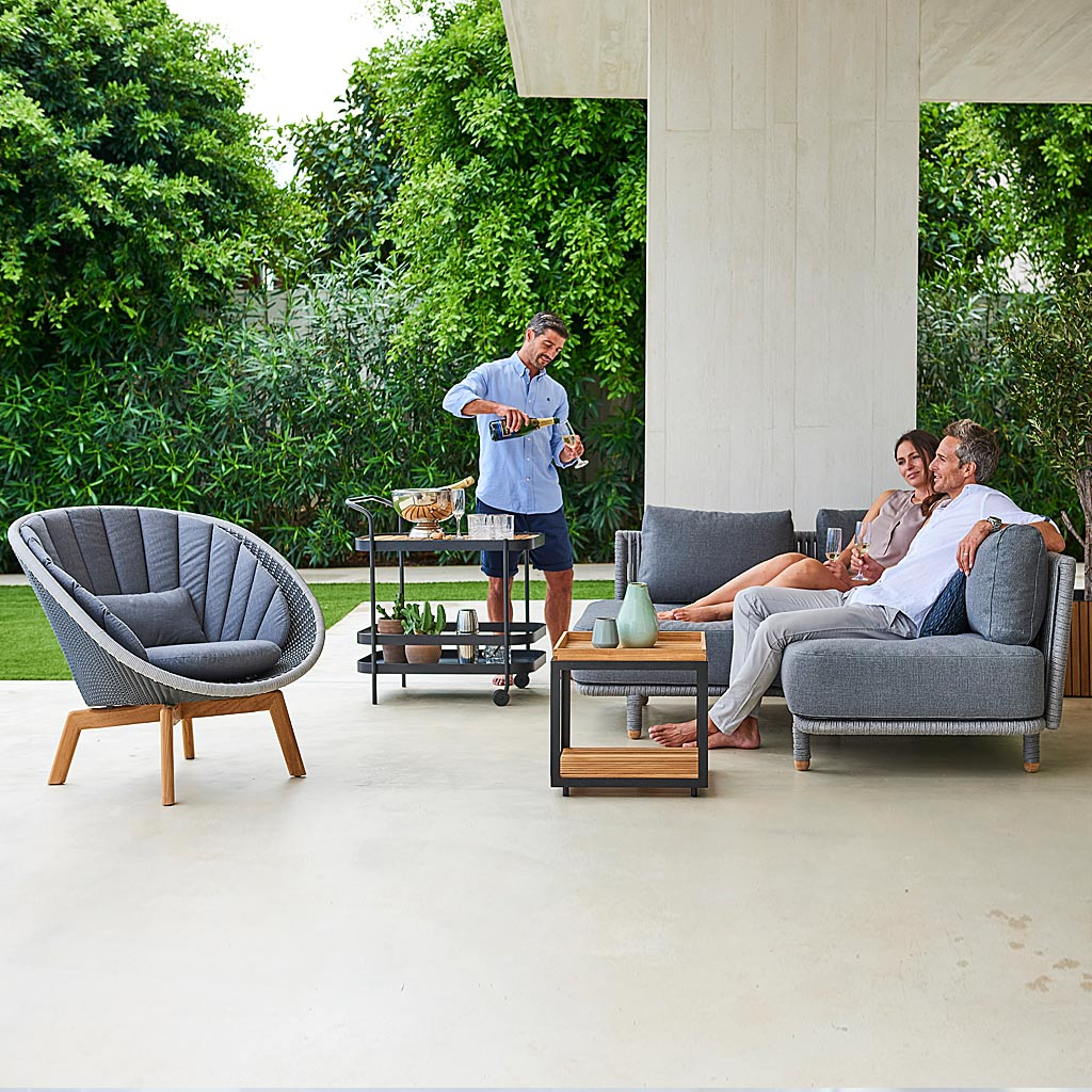 Peacock Lounge Chair & MOMENTS Modern Garden SOFAS. LUXURY Outdoor LOUNGE Set In HIGH QUALITY Garden Furniture MATERIALS By Cane-line ALL-WEATHER Outdoor Furniture Company.