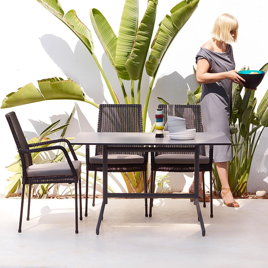NEWPORT Rattan GARDEN Dining CHAIR. ALL-WEATHER Dining Chair - STACKABLE, With Or Without Arms, By CANE-LINE High QUALITY Garden FURNITURE.