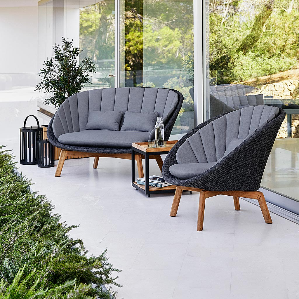 PEACOCK LUXURY GARDEN FURNITURE SALE - 2 MODERN Garden Lounge Chairs By CANE-LINE HIGH QUALITY Garden FURNITURE - 30% DISCOUNT - Peacock GARDEN EASY Furniture In Cane-line Soft Rope With Dark Grey Cushions. Designer 2 SEAT Garden SOFA & MODERN Outdoor LOUNGE CHAIR, ALL-WEATHER Furniture. Cane-line LUXURY Outdoor FURNITURE.