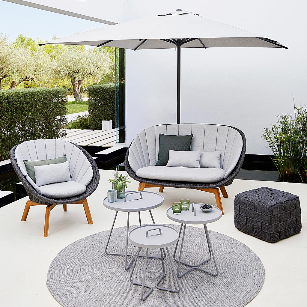 On-The-Move Tables & Peacock GARDEN EASY Furniture. Designer 2 SEAT Garden SOFA & MODERN Outdoor LOUNGE CHAIR, ALL-WEATHER Furniture. Cane-line LUXURY Outdoor FURNITURE.