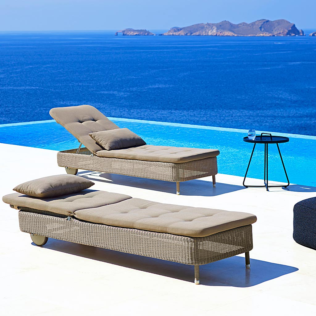 Taupe Presley ALL-WEATHER RATTAN Sun LOUNGER, Fully Adjustable CLASSIC Woven SUNBED By CANE-LINE Luxury Rattan Outdoor Furniture Company.