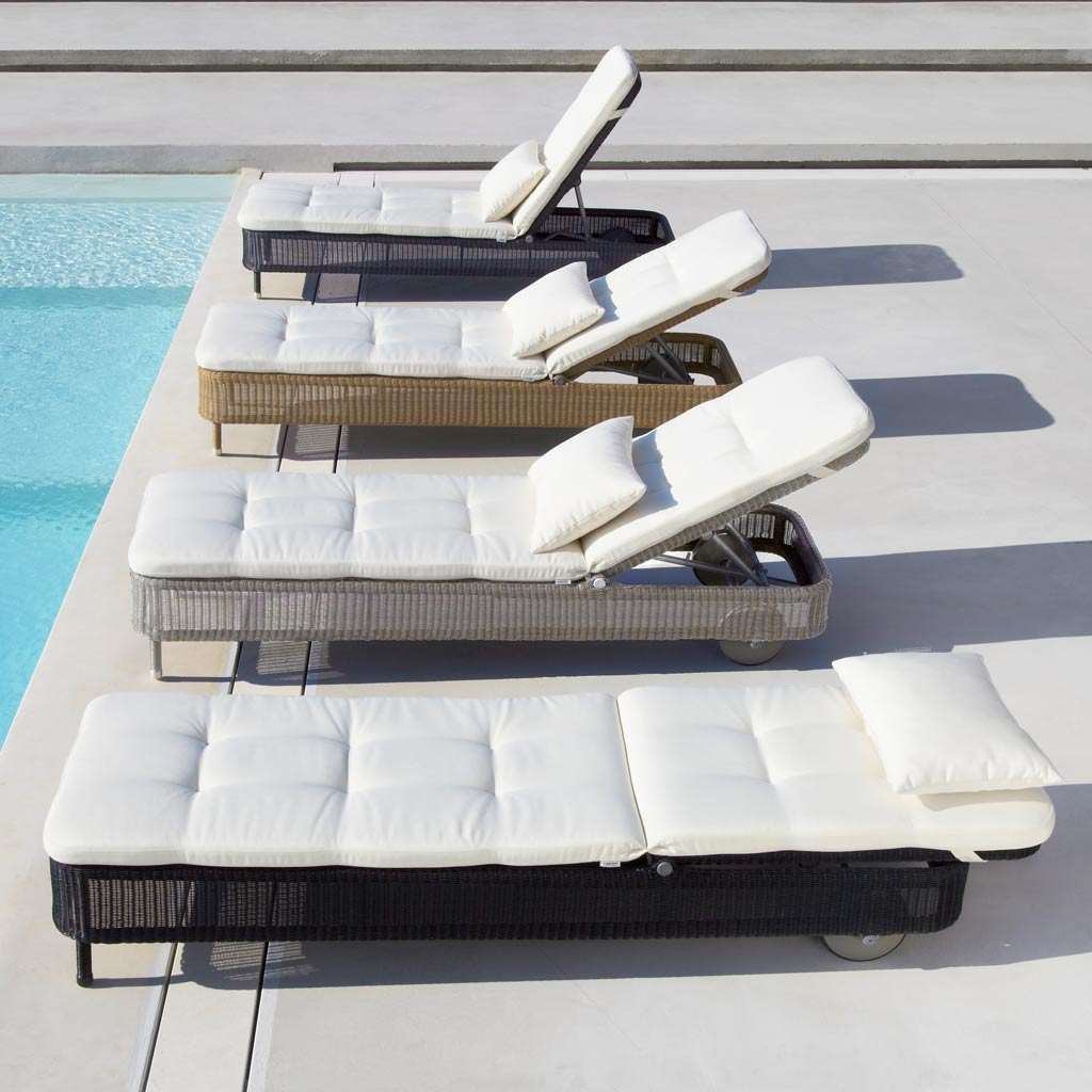 Presley ALL-WEATHER RATTAN Sun LOUNGER, Fully Adjustable CLASSIC Woven SUNBED By CANE-LINE Luxury Rattan Outdoor Furniture Company.