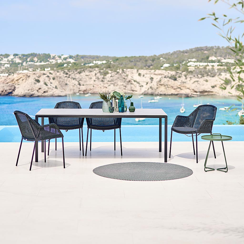 Breeze Stacking Chair & Pure MINIMALIST Garden TABLES. MODERN Outdoor DINING Tables & CONTEMPORARY Exterior LOW TABLES In High Quality Garden Table Materials By Cane-line ALL-WEATHER Dining FURNITURE.