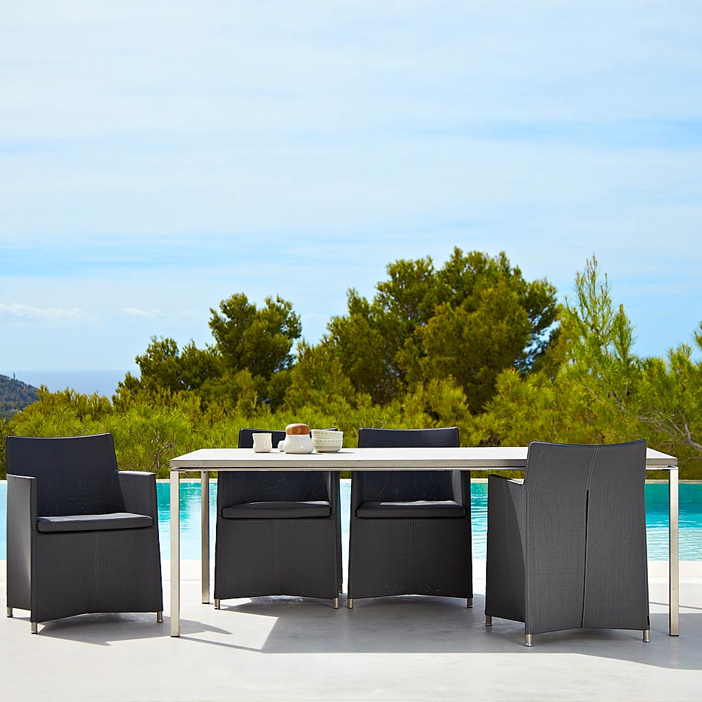 Diamond Chair & Pure MINIMALIST Garden TABLES. MODERN Outdoor DINING Tables & CONTEMPORARY Exterior LOW TABLES In High Quality Garden Table Materials By Cane-line ALL-WEATHER Dining FURNITURE.