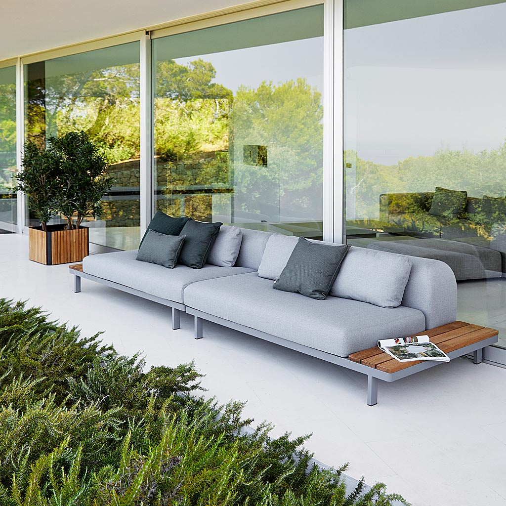 Space MODERN Garden CORNER SOFA. Luxury MODULAR Outdoor Sofa In ALL-WEATHER Garden SOFA MATERIALS By Cane-Line GARDEN FURNITURE Company.