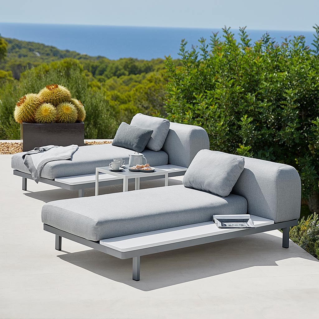 Space MODERN Garden CORNER SOFA. Luxury MODULAR Outdoor Sofa In ALL-WEATHER Garden SOFA MATERIALS By Cane-Line GARDEN FURNITURE Company.