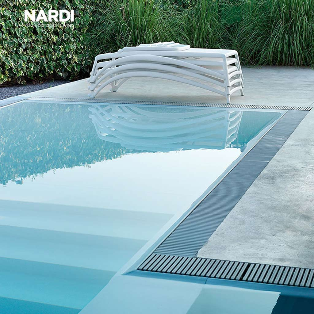 Stacked White ATLANTICO Contract SUN LOUNGER Is A BUDGET Sun Lounger & MODERN Stacking Sun Bed By Nadi HIGH QUALITY Poolside FURNITURE Company, Italy.