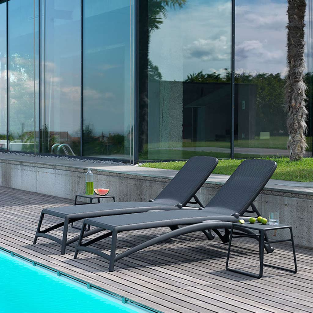 Anthracite POP Table & ATLANTICO Contract SUN LOUNGER Is A BUDGET Sun Lounger & MODERN Stacking Sun Bed By Nadi HIGH QUALITY Poolside FURNITURE Company, Italy.