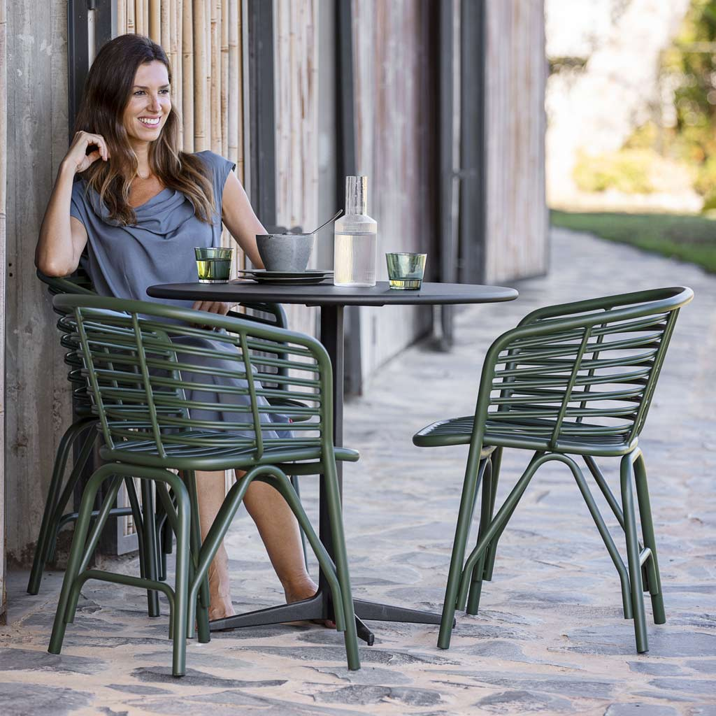 Drop Table & Blend ALL-WEATHER Dining Chair Is A MODERN Garden CARVER CHAIR In HIGH QUALITY Garden Furniture MATERIALS By Cane-line Luxury Outdoor Furniture