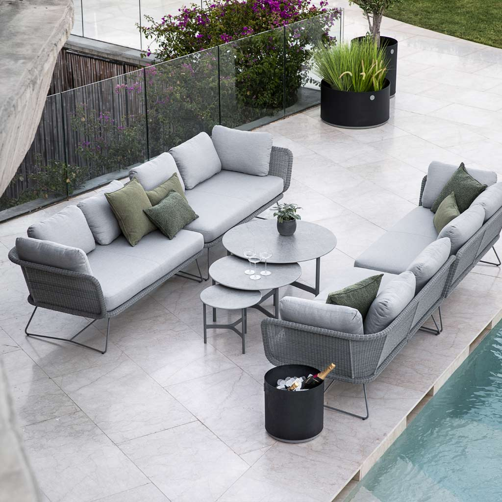 Horizon Garden Sofas & Twist MODERN Garden COFFEE TABLE Is A LUXURY Exterior Low Table In PREMIUM QUALITY Outdoor Furniture MATERIALS By Cane-line GARDEN FURNITURE