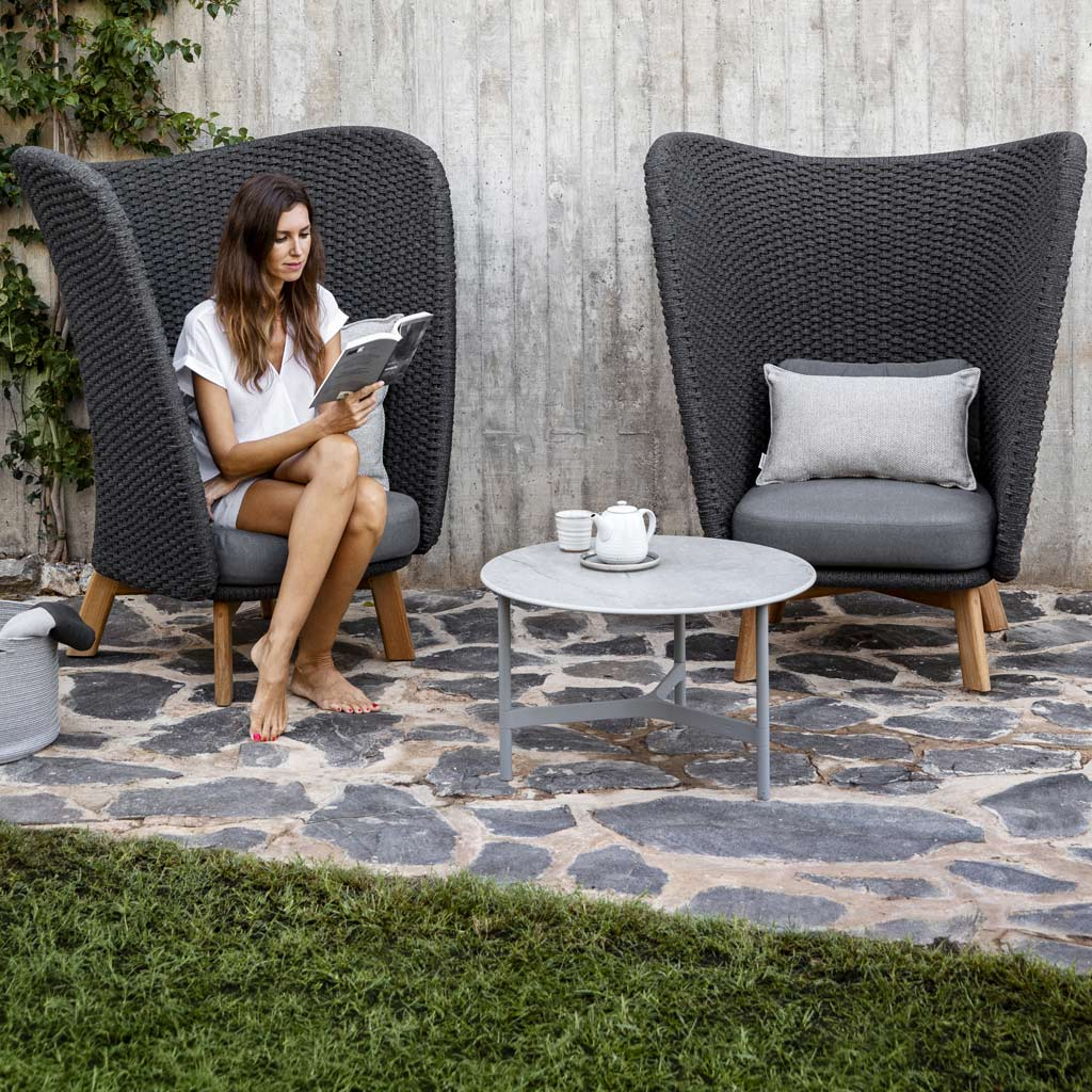 Peacock Wing Garden Chairs & Twist MODERN Garden COFFEE TABLE Is A LUXURY Exterior Low Table In PREMIUM QUALITY Outdoor Furniture MATERIALS By Cane-line GARDEN FURNITURE