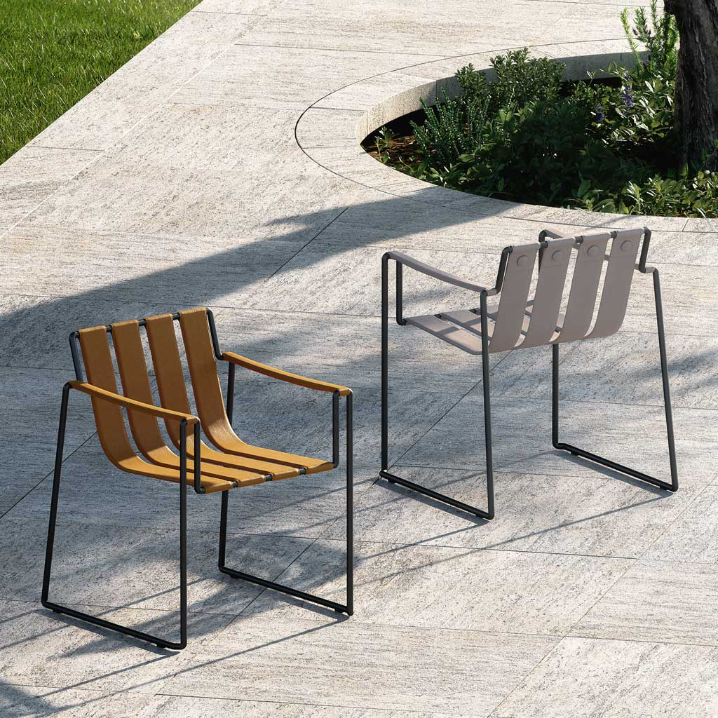 Strappy GARDEN DINING CHAIR Is A MODERN Outdoor Carver Chair In MINIMALIST OUTDOOR FURNITURE Materials By ROYAL BOTANIA LUXURY Exterior Furniture