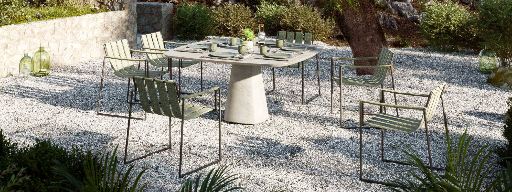 CONIX TABLE & Strappy GARDEN DINING CHAIR Is A MODERN Outdoor Carver Chair In MINIMALIST OUTDOOR FURNITURE Materials By ROYAL BOTANIA LUXURY Exterior Furniture