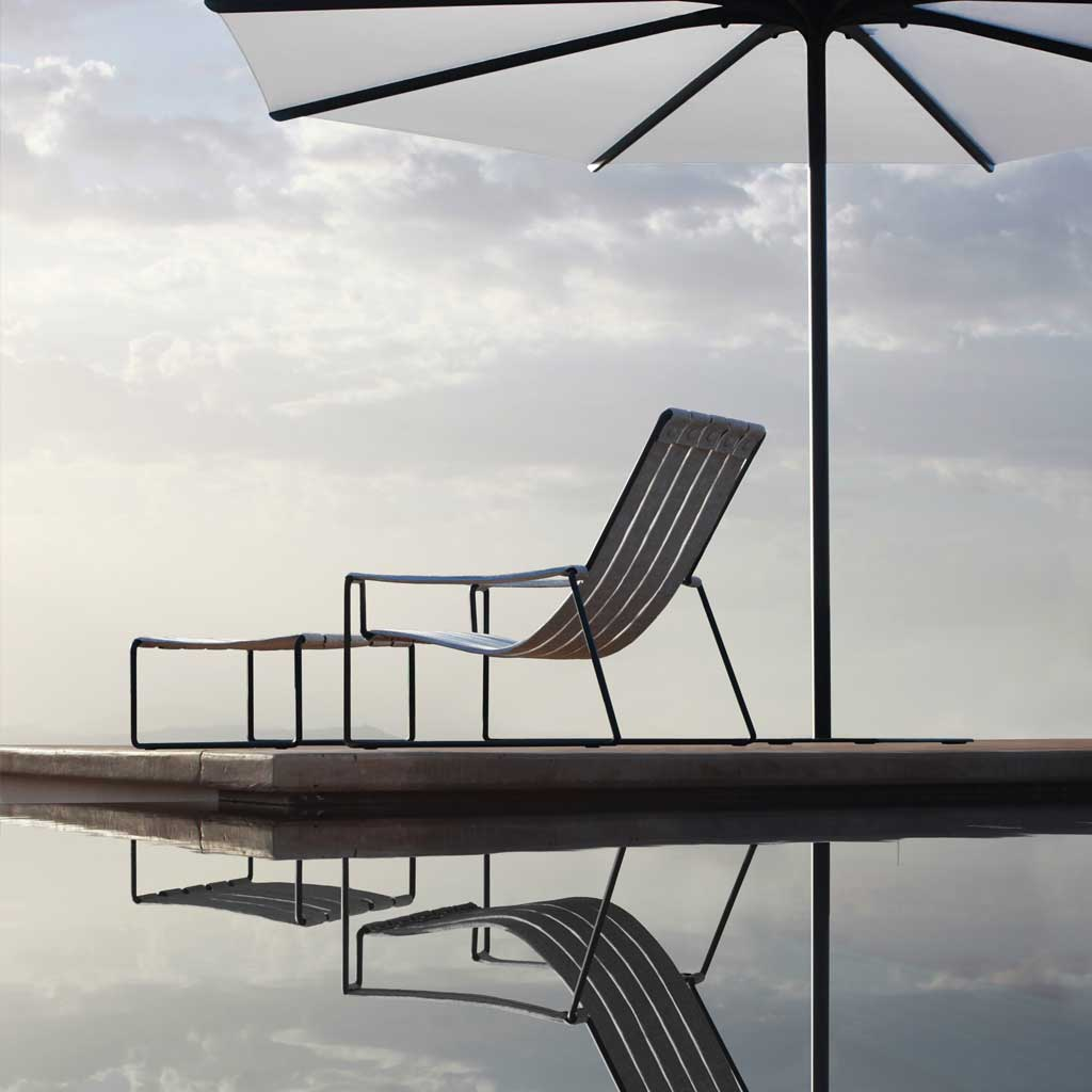 Strappy GARDEN RELAX CHAIR Is A MINIMALIST Outdoor LOUNGE Chair And FOOTSTOOL In TOP QUALITY Garden Furniture Materials By ROYAL BOTANIA Furniture